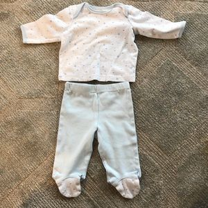 Little Me matching shirt and footed pant set NWOT